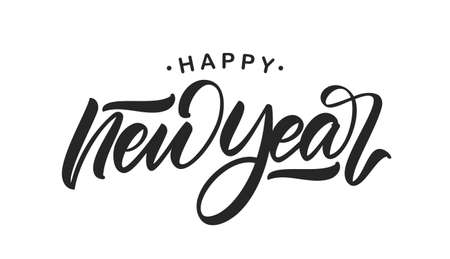 Vector illustration. Handwritten calligraphic brush lettering of Happy New Year isolated on white background. Иллюстрация