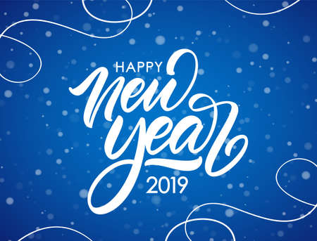 Vector illustration. Handwritten calligraphic brush lettering composition of Happy New Year 2019 on blue snowflakes background. Фото со стока - 127098654