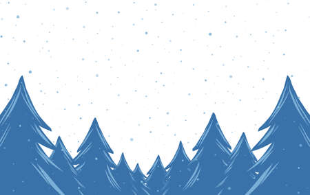 Hand drawn cartoon snowy pine forest. Christmas banner template.