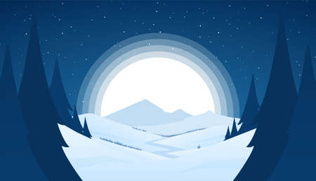 Vector night snowy winter mountains landscape with hills, river or road and fool moon