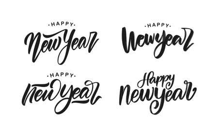 Vector illustration: Set of handwritten brush type lettering of Happy New Year on white background Иллюстрация