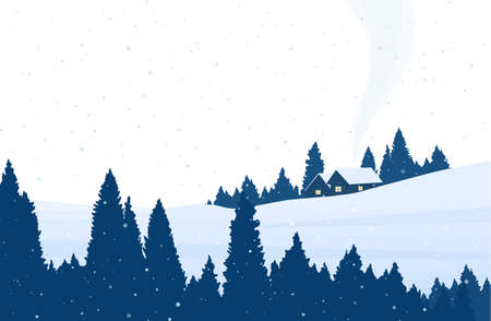 Vector illustration: Winter cartoon snowy landscape with pine forest, two houses and smoke from chimney. Иллюстрация