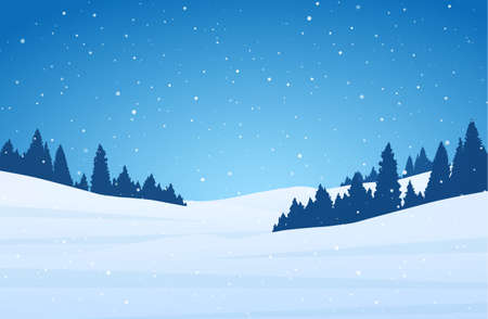 Vector illustration: Template of Christmas greeting card with winter night snowy hillside landscape.