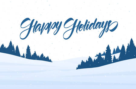 Vector illustration. Winter snowy landscape with handwritten lettering of Happy Holidays. Merry Christmas Illusztráció
