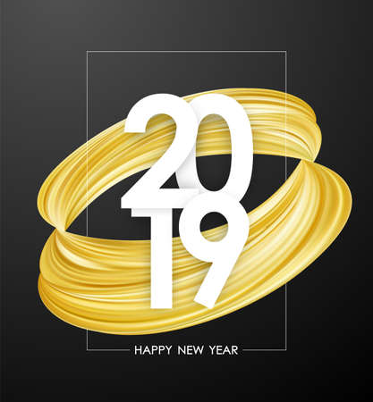 Vector illustration: Happy New Year 2019. Greeting poster with golden abstract paint stroke shape. Trendy design