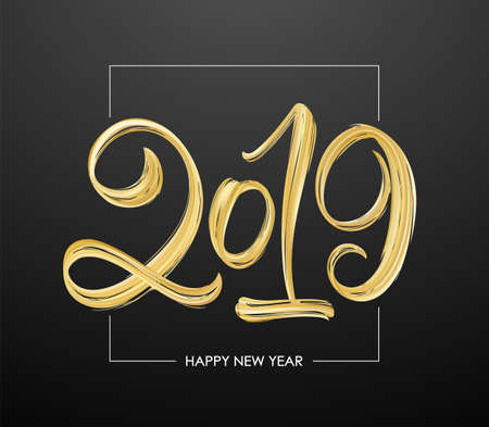 Vector Hand drawn calligraphic brush stroke golden paint lettering of 2019 on black background. Happy New Year