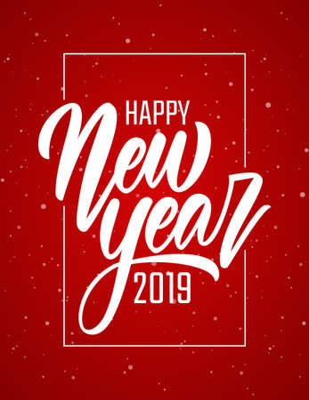 Vector illustration. Handwritten brush lettering of Happy New Year 2019 in frame on red snowflakes background. Иллюстрация