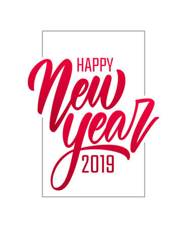 Vector illustration. Red Hand drawn brush type lettering of Happy New Year 2019 isolated on white background. Иллюстрация