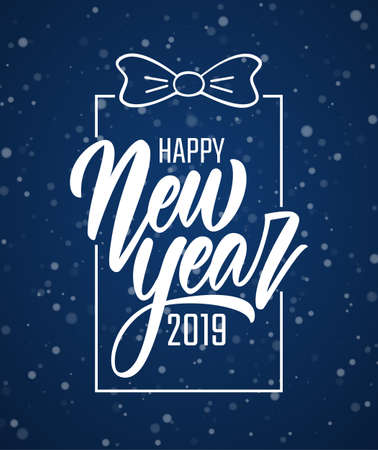 Vector illustration. Handwritten brush lettering of Happy New Year 2019 in gift box frame on blue snowflakes background.