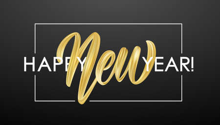 Vector illustration: Hand brush stroke golden paint lettering composition of Happy New Year on black background