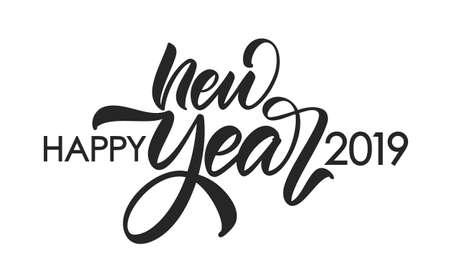 Vector illustration. Hand drawn calligraphic brush lettering composition of Happy New Year 2019 on white background. Иллюстрация