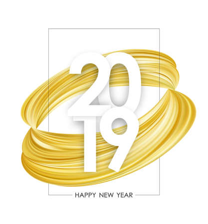 Vector illustration: Happy New Year 2019. Greeting poster with golden abstract paint stroke shape on white background. Trendy design