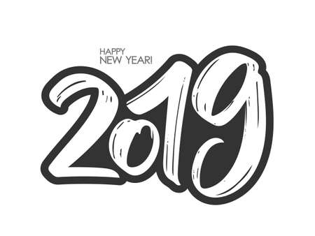 Vector illustration: Hand drawn brush lettering of number 2019. Happy New Year. Chines calligraphy Illustration
