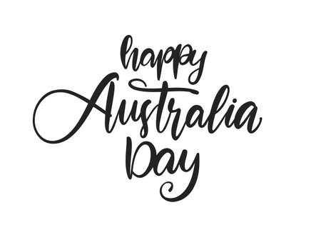 Handwritten brush type lettering of Happy Australia Day isolated on white background Иллюстрация