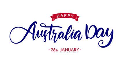 Handwritten modern brush lettering of Happy Australia Day on white background