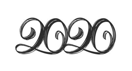 Happy New Year. Vector Handwritten textured brush type lettering of 2020 on white background. Chines calligraphy