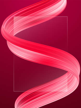 Modern abstract blank background with 3d twisted red flow liquid shape. Acrylic paint design