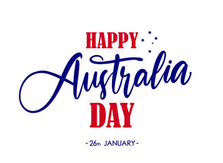 Handwritten brush type lettering composition of Happy Australia Day on white background