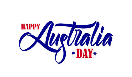 Hand drawn brush type lettering composition of Happy Australia Day on white background Illustration