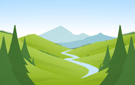 Cartoon flat summer mountains landscape with green hills, pine forest and river