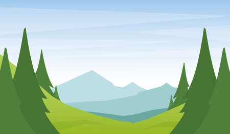 Cartoon flat summer mountains landscape with green hills and pine forest on foreground.