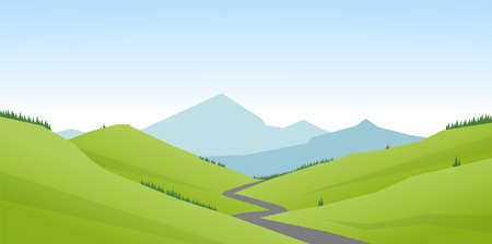 Cartoon flat summer mountains landscape with green hills and road.