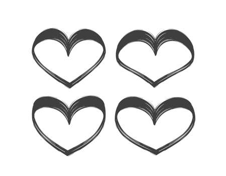 Set of Hand drawn brush textured hearts isolated on white background.