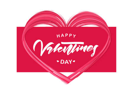 Greeting card with hand lettering of Happy Valentines Day and brush stroke red paint shape of heart.