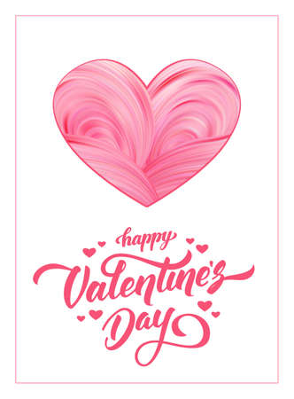 Greeting card with abstract twisted paint shape of heart on white background. Happy Valentines Day