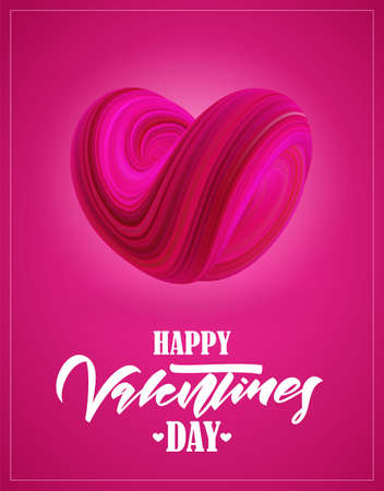 Greeting card with abstract twisted fluide shape of heart on pink background. Happy Valentines Day