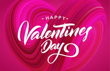 Happy Valentines Day. Greeting card with abstract twisted fluide shape of heart on pink background Иллюстрация