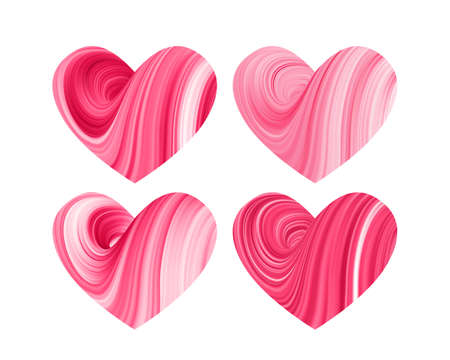 Set of four 3D Red abstract twisted fluide shape of hearts on white background.