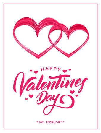 Vector illustration: Greeting card with hand lettering of Happy Valentines Day and brush stroke paint shape of two hearts Иллюстрация