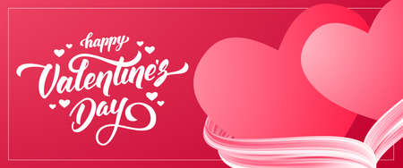 Vector illustration: Red Greeting banner with hand lettering of Happy Valentines Day and two hearts with acrylic paint stroke.