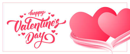 Vector illustration: Greeting banner with hand lettering of Happy Valentines Day and two hearts with acrylic paint stroke.