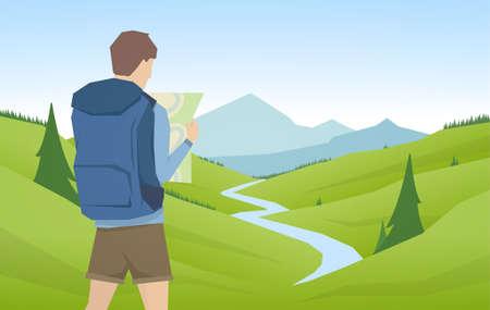Jeune homme voyageur et randonneur avec carte sur fond de paysage plat de montagnes d'été