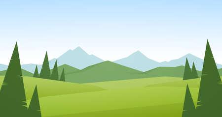 Paysage de montagnes d'été avec des collines et des pins verts au premier plan. Vecteurs