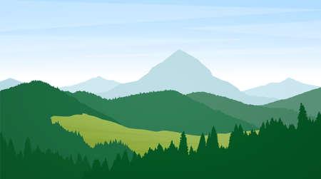 Letni krajobraz dzikich gór z sosnami, wzgórzami i szczytami.