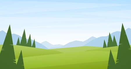 Paysage de montagnes d'été ou de printemps avec des collines et des pins verts au premier plan.