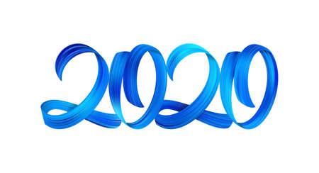 Vector illustration: Blue Brushstroke acrylic paint lettering calligraphy of 2020 on white background. Happy New Year