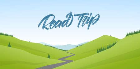 Road Trip. Summer cartoon flat landscape with hills and handwritten type lettering. Иллюстрация