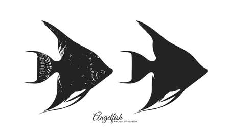 Vector illustration: Set of two silhouettes of Angelfish. Иллюстрация