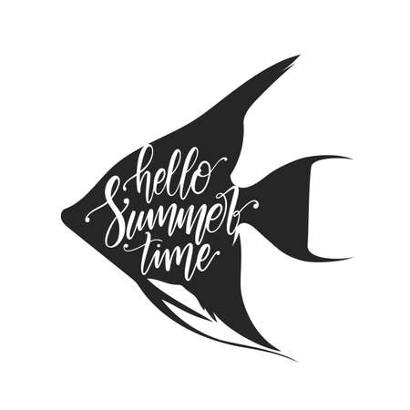 Vector illustration: Handwritten calligraphic lettering of Hello Summer Time on Silhouette of tropical fish background. Illustration
