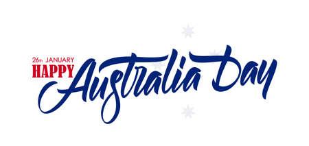 Handwritten calligraphic brush lettering of Happy Australia Day