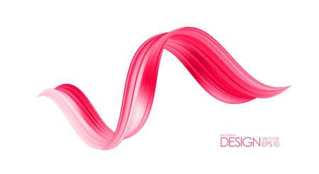 3d twisted red flow liquid shape. Acrylic paint sroke. Modern design Иллюстрация
