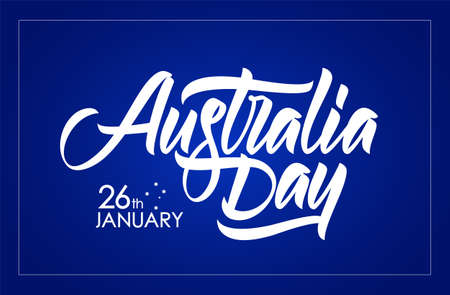 Handwritten brush type lettering composition of Australia Day on blue background 矢量图像