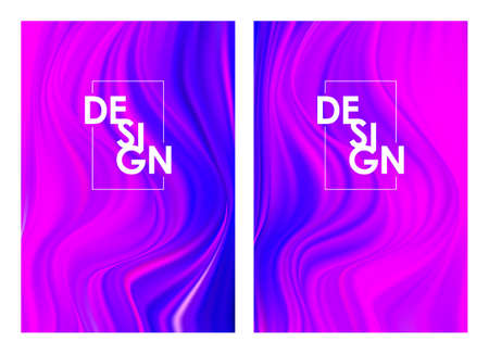 Set of two modern color flow posters. Abstract twisted wavy liquid background. Trendy art design Иллюстрация