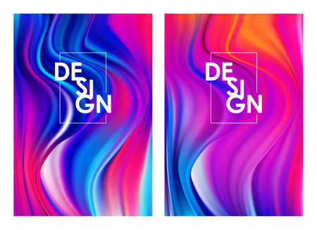 Set of two modern colorful flow posters. Abstract twisted wavy liquid background. Art design Иллюстрация