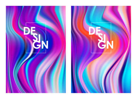 Set of two modern color flow posters. Abstract twisted wave liquid background. Trendy art design Иллюстрация