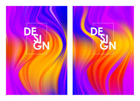 Vector illustration: Set of two modern Summer colorful flow posters. Abstract twisted wavy liquid background. Trendy art design